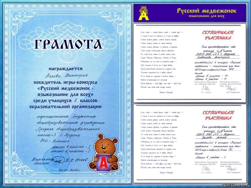 Конкурс русский медвежонок результат